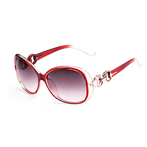 Westeng Frauen polarisierten Sonnenbrillen Dame Brillen mit großem Rahmen UV 400 Schutz für das Fahren/Angeln / Golf,Rot