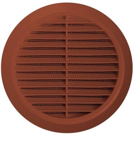 Lüftungsgitter Ø 100 mm rund braun Kunststoff Insektennetz Abluftgitter Zuluft Abluft Gitter Lüftung T 30br