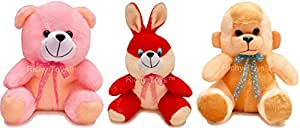 Richy Toys 25 Cm Combo Rabbit Monkey And Teddy Soft Toy For Kids - Multi Color