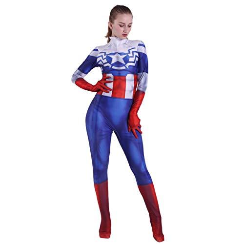 QQWE Frauen Captain America Cosplay Kostüm Peggy Carter Erwachsene Kinder Kostüm Kleidung Weihnachten Halloween Kleidung Superheld Body - Für Erwachsene Frauen Superhelden Kostüm