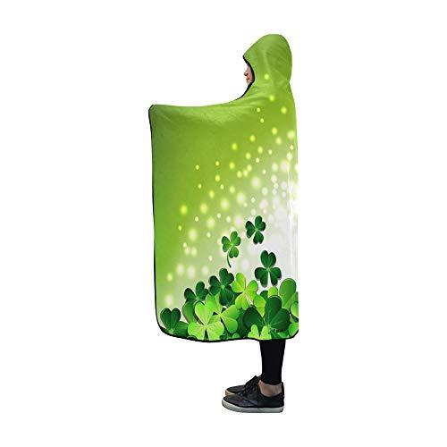 JOCHUAN Mit Kapuze Decke abstraktes Licht auf Shamrock auf grüner Decke 60x50 Zoll Comfotable mit Kapuze Wurfs-Verpackung