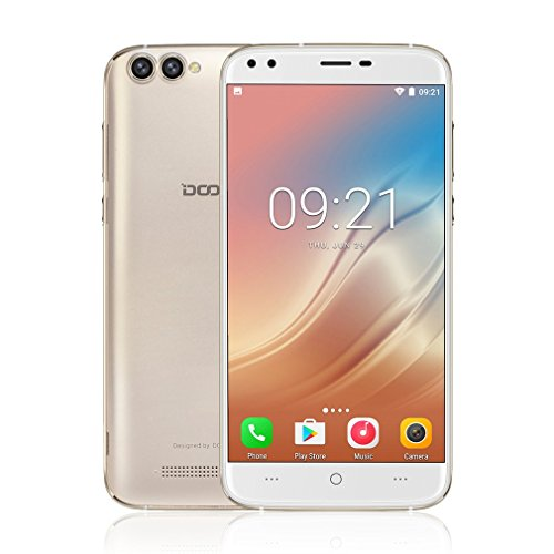 LESHP DOOGEE-X30 Smartphone Libre 3G, 5.5 Pulgadas (Android 7.0, 2GB RAM 16GB ROM, Quad Core, Dual SIM, 720 * 1280, Cámaras 8.0MP + 8.0MP, 3360mAh Batería, MTK6580 1.3GHz) - Oro