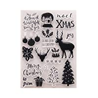 Cabilock Christmas Clear Stamps Silicone Christmas Greeting Stamps Snowflake Santa Deer Tree Stamps for Card Making Decoration and DIY Scrapbooking
