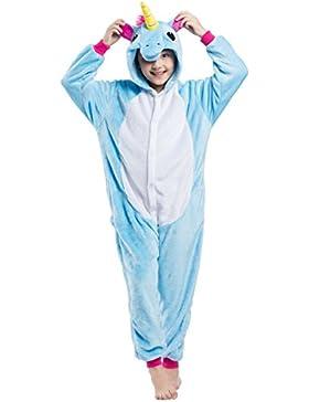 Pijama Unicornio, Franela Onesie Animal Cosplay para Niños entre 1,14 y 1,46 m Unisex Kigurumi