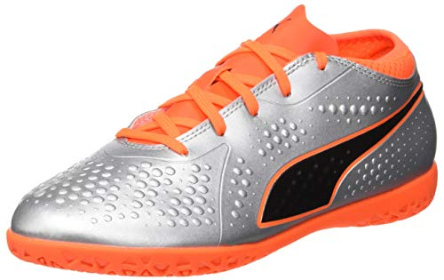 (Puma Unisex-Kinder ONE 4 SYN IT JR Fußballschuhe, Silber Silver-Shocking Orange Black 01, 28 EU)