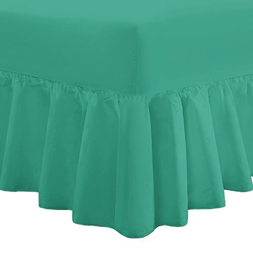 Nimsay Home Plain Dyed Fitted Frilled Valance Sheet Poly Cotton Bed Sheets OR Pillowcases (Virdis Green, Double)