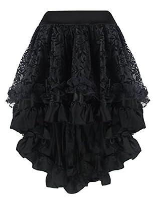 Martya Women's Steampunk Gothic Dress Costume Vintage Multi Layered Chiffon Skirt Plus Size