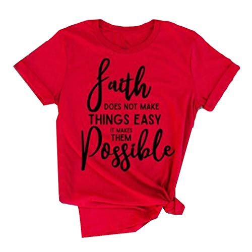 Energy Women's Lounge Faith Does Not Make Things Easy T-Shirt Tops Blouses Red L (L/s Lounge Womens Shirt)