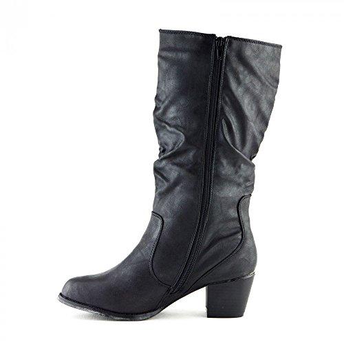size 40 a411f 9c6be ... Donna Signore Tacco Piatto Delicato-Vitello Slip On Stivali Moda Scarpe  Eleganti Nero Nero opaco