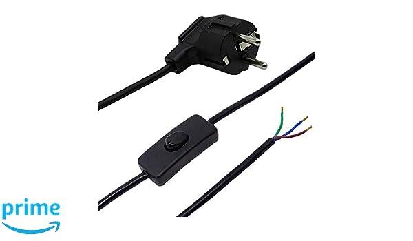 C/âble de raccordement pour lampes de table ou Lampadaire CE Interrupteur /à bascule 250/V lampes Fiche c/âble noir 1,50/m