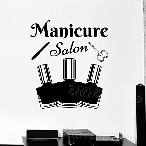 guijiumai Maniküre Werkzeuge Salon Wandtattoo Aufkleber Nagellack Schönheit Aufkleber Wanddekor Tapete Vinyl Aufkleber Wandbild Mädchen Zartrosa 49X42 cm - Pink-martini-weihnachten