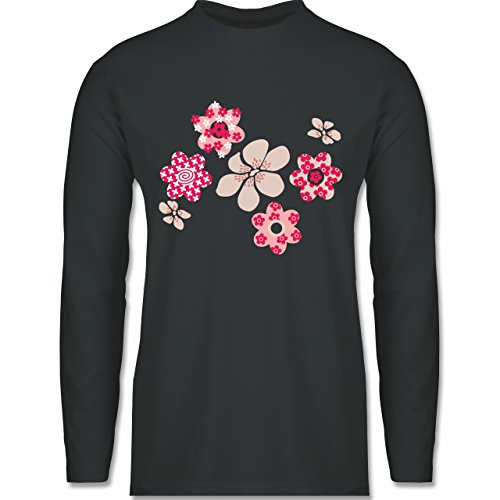 Shirtracer Blumen & Pflanzen - Blumen - Herren Langarmshirt Dunkelgrau
