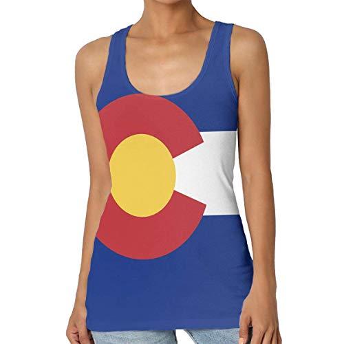 Henrnt Damen Unterwäsche/Weste,Damen Tops Sommer, Flag of Colorado Women Tank Top T-Shirt Fashion Sleeveless Sport Vest Racerback -