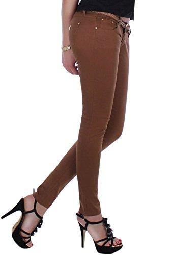 Pantalon de sport pour femme avec ruban doré pour rivets röhrenhose strassdetaisl et ceinture en 4 couleurs s-42 36 xL Marron - Camel