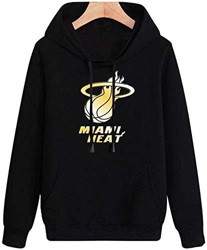 FAN-FASHION NBA Hoodie Miami Heat Printemps Hommes T-Shirt À Manches Longues Vestes Version Lâche Sweat Confortable Basketball Hoodie (Color : Black, Size : Large)