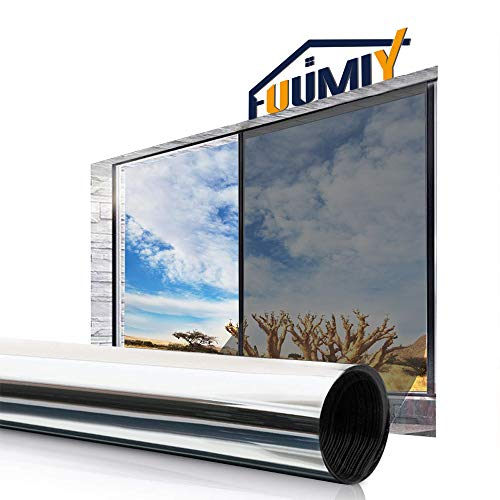 Fuumiy Spiegelfolie Selbstklebende Sonnenschutzfolie Fensterfolie,One Way Reflektierende Sichtschutzfolie,Anti-UV Verdunkelungsfolie Wärmeisolierung,für Büro und Haus - Silber (90 * 200cm)