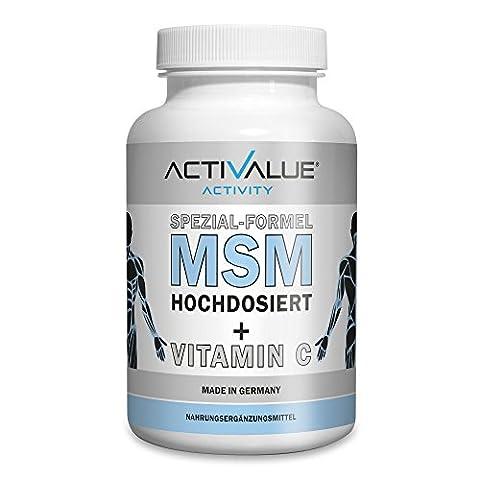 MSM Kapseln hochdosiert mit NATÜRLICHEM Vitamin C, das Original von Dr.med.Wagner, 1200mg Methylsulphonylmethan (MSM) und 80mg Vitamin C pro Tagesdosis, 99,9% rein und HOHE BIOVERFÜGBARKEIT da OHNE Magnesiumstearat, deutsches Premium-Produkt , XL-Packung für 3 Monate