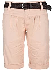 Fresh Made Pantalons d'été bermudas pour les femmes | pantalon court chino avec ceinture tressée | Short de base de l'arbre de laine