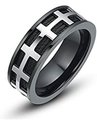 Stainless Steel Cross and Cable 8mm Mens Wedding Band Ring (Black and Silver)