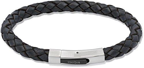 Unique Men 21 cm, Navy Blau, Armband Leder Verschluss Edelstahl Gemustert, Nagelhautschieber und Schwarz