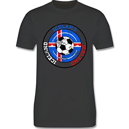 EM 2016 - Frankreich - Iceland Kreis & Fußball Vintage - Herren Premium T-Shirt Dunkelgrau