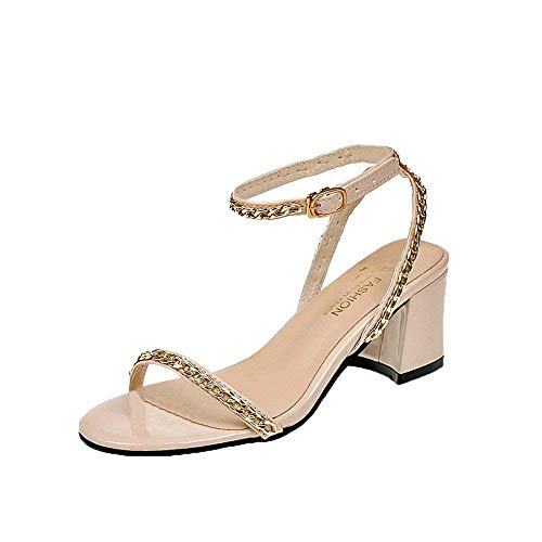 29b94744f Qiusa Soldes Femmes Mode Parti métal Rivet Bride à la Cheville Sandales à  Bout Rond Chaussures
