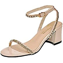 d4ff6abf12 Qiusa Ausverkauf Frauen Fashion Party Metall Rivet Knöchelriemen Sandalen  Runde Toe Block Heel Schuhe (Farbe