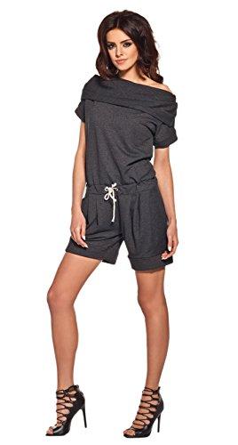 Lemoniade stylischer Jumpsuit ohne Ärmel mit elegantem Wasserfallkragen und ausgefallener Schnürung an der Hüfte (S (36), Modell 2 Dunkelgrau)