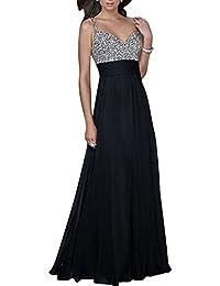 52441a2e7e3d ZiXing Damen Paillettenkleid V-Ausschnitt Chiffon Abendkleid Cocktailkleid Partykleid  Maxi Kleid