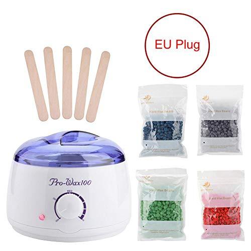 Wachswärmer, Wachs Haarentfernung Wachsgerät, 4 x 100g Wacshbohnen+ 5 Wischstöcke, Wax Warmer Heater Set, Wachsbohnen Warmwachsgerät 220v-240v (EU)