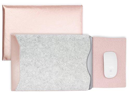 MyGadget 13-13,3 Zoll Laptop Hülle Filz & PU Leder Sleeve Slim Case Schutzhülle - Kunstleder Mauspad Tasche für u.a. Apple MacBook Air/Pro - Rosé