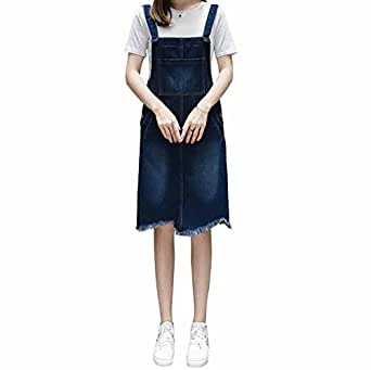 2ed4633d555 Image Unavailable. Image not available for. Colour  Elwow Lady s Casual  Style A Line Plus Size Jeans Denim Pinafore Dungaree Knee Length Dress  Jumpsuit