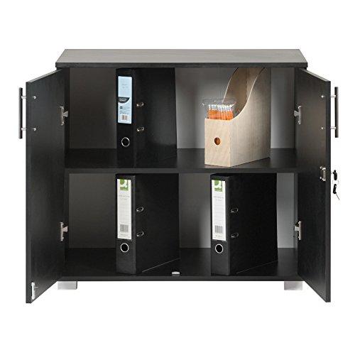 MMT Furniture Designs Black Office Storage Cupboard Desk Height 2 Door Bookcase with Lock 73cm Tall Desktop Extension…