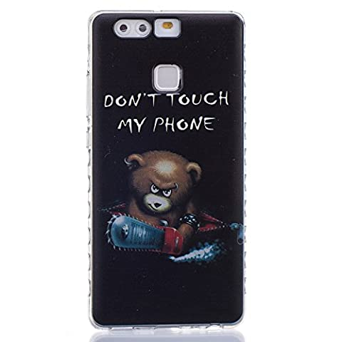 Huawei P9 Case,Huawei P9 Cover, Huawei P9 Transparent Silicone Cover,Ukayfe Ultra Thin Soft Gel TPU Silicone Case Cover with Cute Cartoon Bear Pattern for Huawei P9 with 1 x Black Stylus (Don't Touch My Phone)