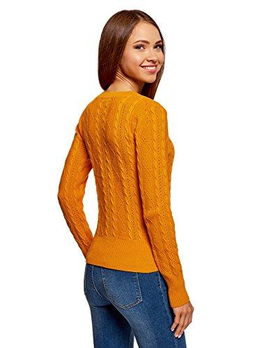 oodji Ultra Damen Strukturierter Strickpullover mit Rundhalsausschnitt Orange (5500N)