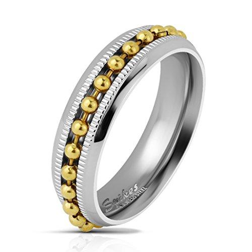 Tapsi´s Coolbodyart® Herrenring Bandring in silber mit eingefasster Kugel-Kette in gold und Diamantschnitt Breite : 8 mm Größe 7/8/9/10/11/12/13