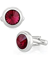 Mahi Rhodium Plated Maroon Solitaire Crystal Cufflink for Mens and Boys CL1100534RMar