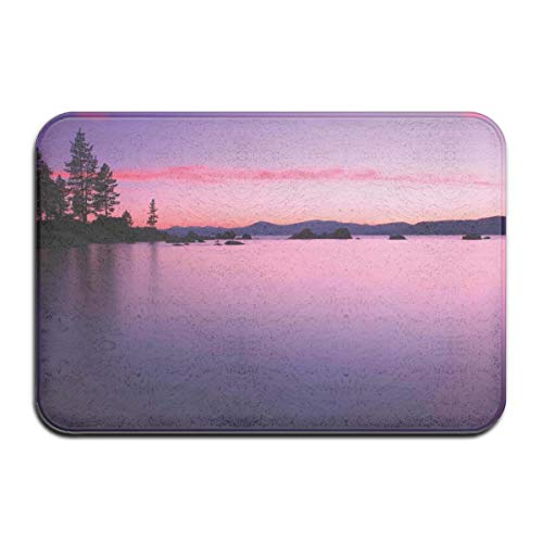 Bath Rugs and Mats,Calm Lake After Sun Disappeared with Hazy Lights of The Evening Sky Tranquil Nature Print,Plush Decor Mat Non Slip Backing,19.5 * 31.5 inch