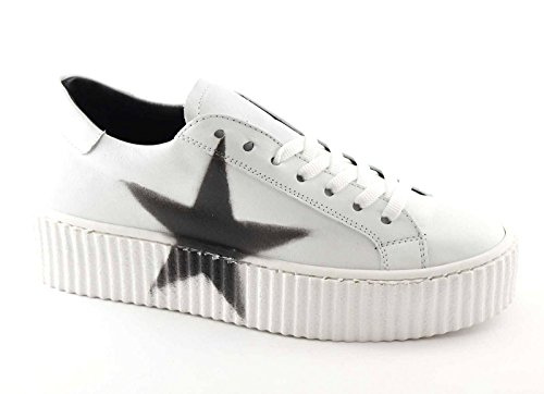 Divine Follie 11-301 Bianco Scarpe Donna Sportive Sneakers Lacci Pelle Platform Bianco
