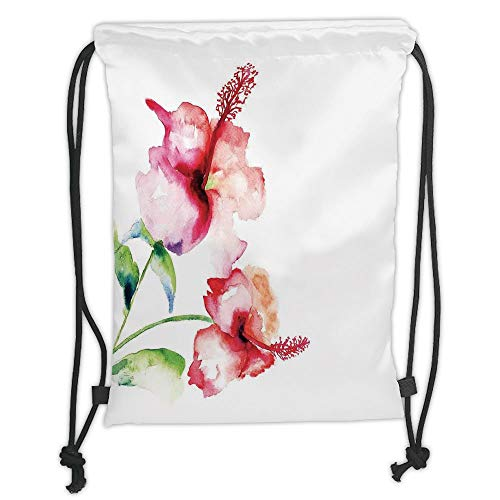 Fashion Printed Drawstring Backpacks Bags,Watercolor Flower,Hibiscus Flowers on Plain Background in Pastel Colors Nature Home Decor Decorative,White Red Green Soft Satin,5 Liter Capacity,Adjustabl