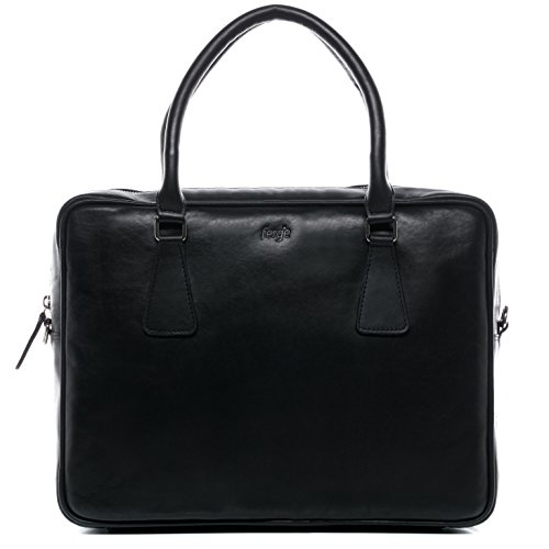 FERGÉ Laptoptasche ACE - Unisex Notebooktasche groß Ledertasche 15,4 Zoll Laptop Extra-Abtrennung - Businesstasche Damen Herren echt Leder schwarz