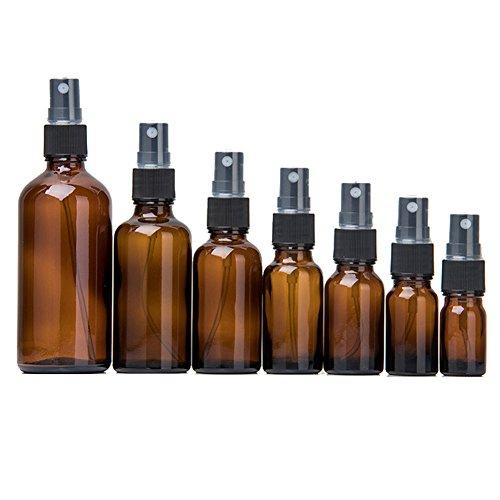 Ulofpc Botellas vacías de Vidrio ámbar 7 Piezas - Envases rellenables para aceites Esenciales, Productos...