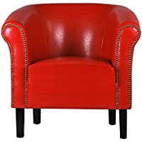 Fortisline Fauteuil crapaud MONACO simili cuir rouge W287 03
