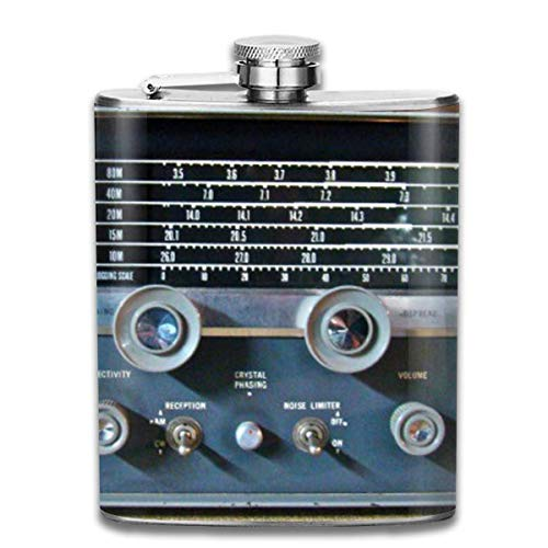ner for Drinking Liquor, Vintage Short Wave Radio 7 Oz Printed Stainless Steel Hip Flask for Drinking Liquor E.g. Whiskey, Rum, Scotch, Vodka Rust Great Gift ()