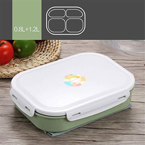 HOMEONES 304 Edelstahl Einfache Fach Isolierung Lunchbox Kantine Erwachsene Trennung Student Kinder Geschirr Lebensmittelbehälter Green 4 grids -