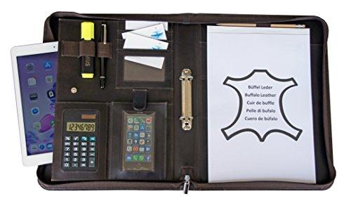 K.DESIGNS® Leder Schreibmappe DIN A4 braun | Konferenzmappe | Dokumentenmappe mit Reißverschluss + Taschenrechner + Ringbuch | Organizer | Aktenmappe