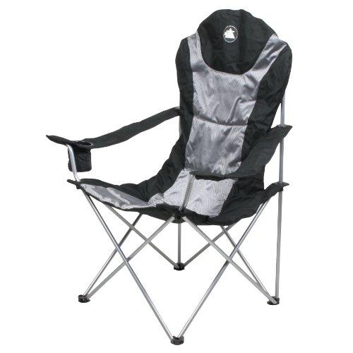 10T Lightboy - Faltbarer XXL Camping-Stuhl mobiler Hochlehner Maxi Polster-Sitzfläche Getränkehalter