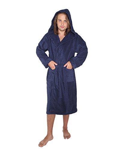 """Bademantel """"Robe'n Hood"""" für Damen und Herren, 100% Baumwolle, mittellang, mit zweilagiger Kapuze Marine"""