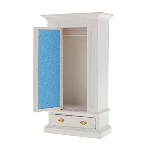 MagiDeal Armadio In Legno Bambole Casa Miniatura Accessori Mobili Decorazione Scala 1:12 - bianca