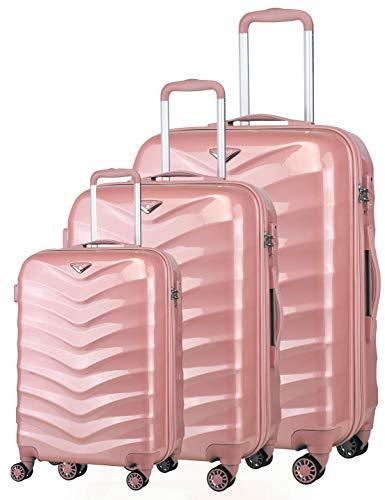 Verage Hartschalenkoffer Seagull 3er Koffer-Set S+M+L (55-66-75 cm) 4 Räder Rosegold TSA-Schloss, 3 teilig Hartschale-Reisekoffer-Set mit Handgepäck Trolley